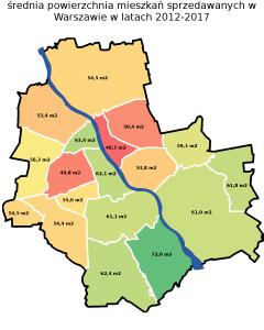 średnia powierzchnia mieszkań w Warszawie w latach 2012-2017